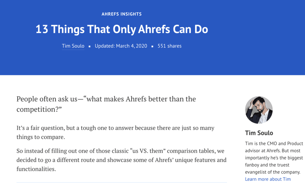 Writing topic - 13 things only Ahrefs can do