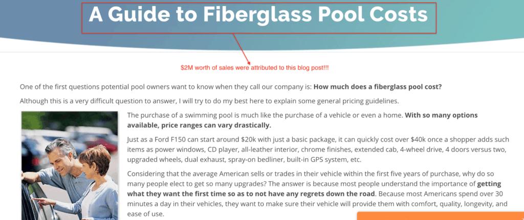 Screenshot of a guide to fiberglass pool costs