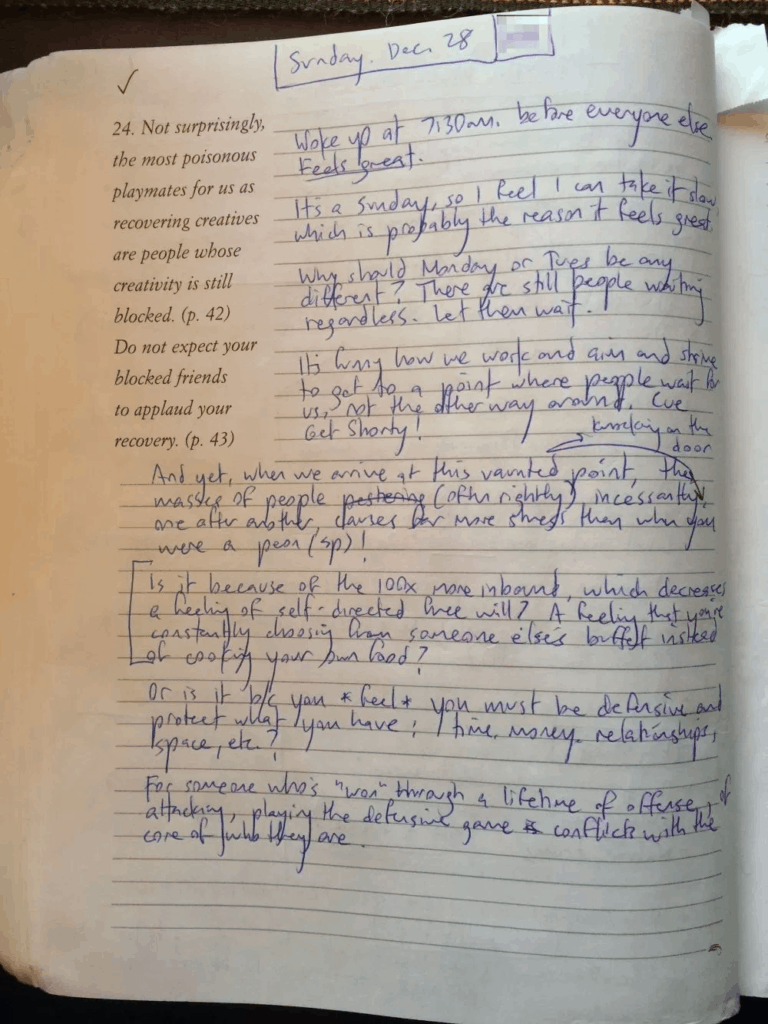 Morning page from journal