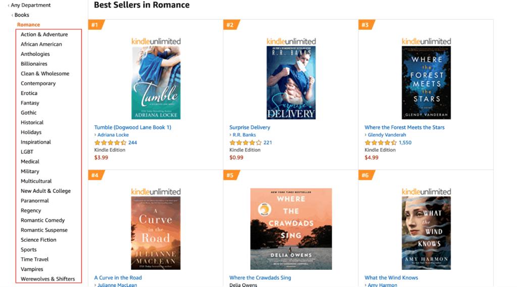 Amazon best sellers - books, romance