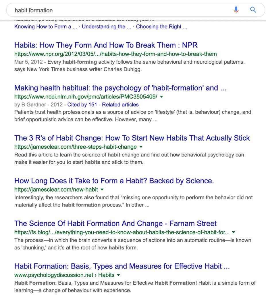 Habit formation google search