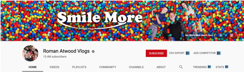 A screengrab from Roman Atwood's Vlog Channel