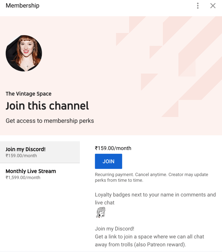 The membership perks of joining the channel