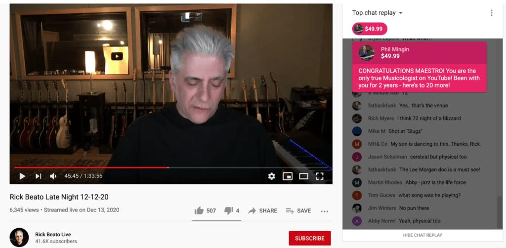 A screenshot of a rick beato live to make money on YouTube