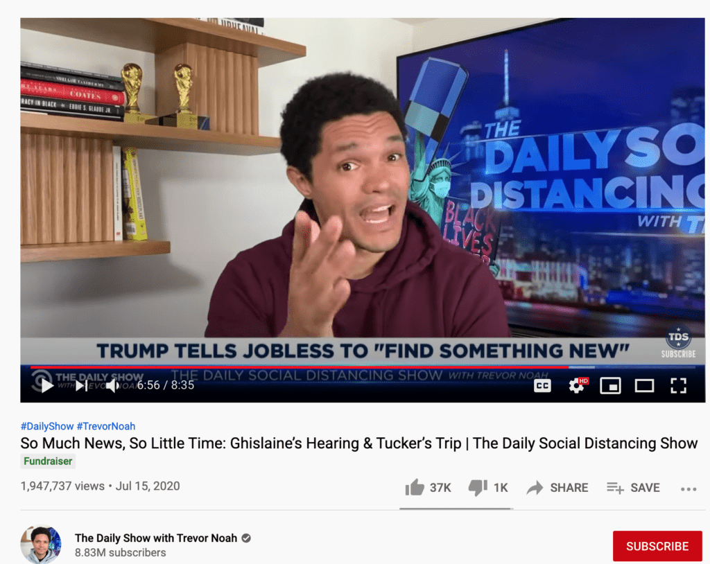 A Screenshot of a Fundraiser video on Trevor Noah's channel to make money on YouTube