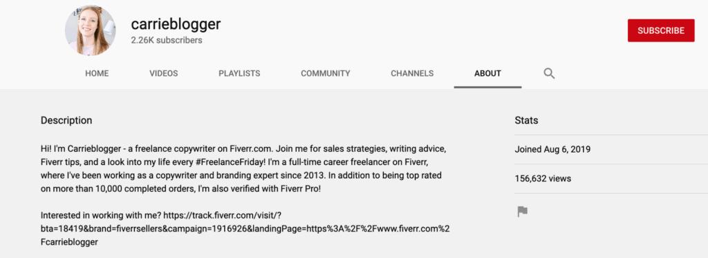 The description on Carrieblogger's channel