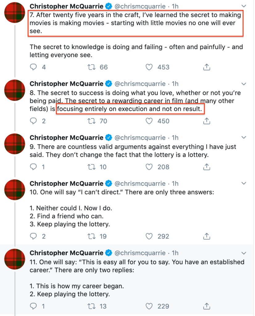A Twitter thread against trying to break in by Chritopher McQuarrie