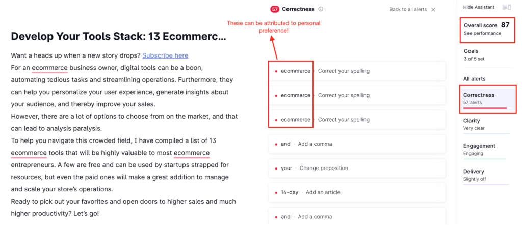 Grammarly word check