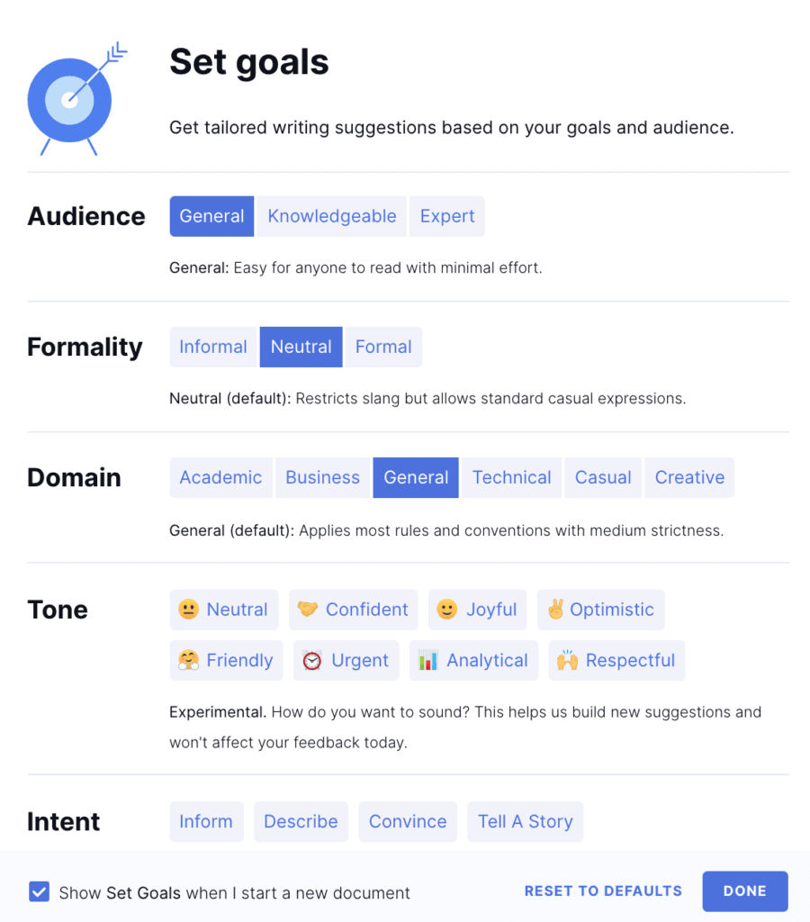 Set goals on Grammarly to match your writing style