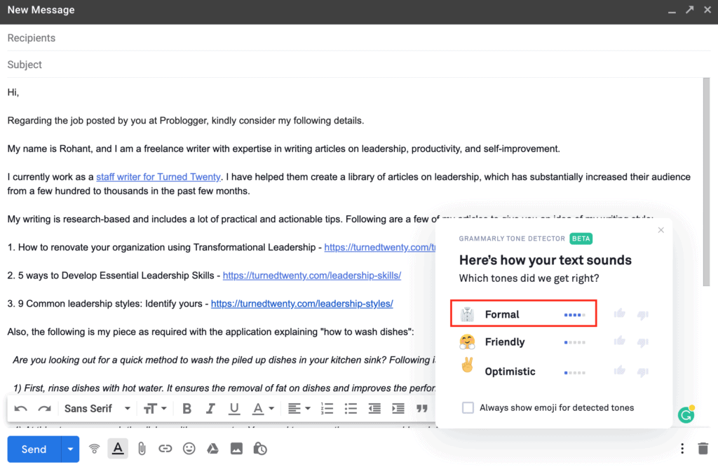 Grammarly suggestions on email