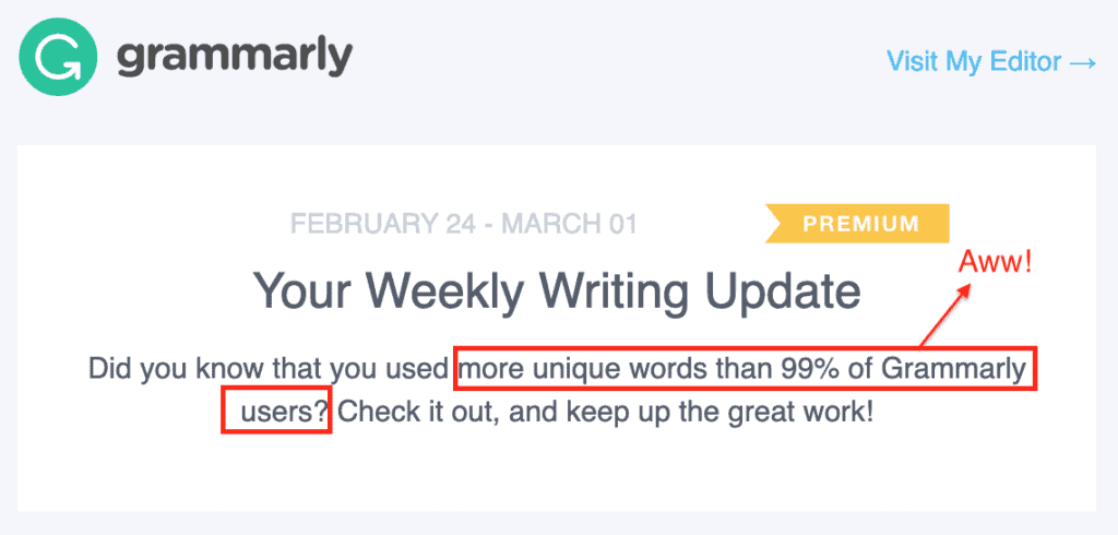 Weekly writing update on Grammarly