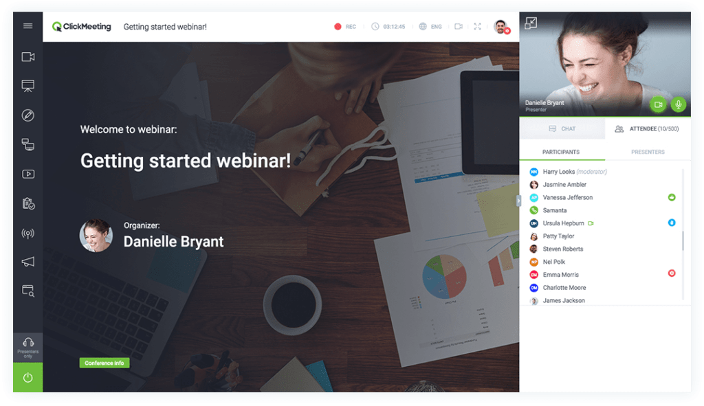 The welcome page for a Webinar on Getting Started