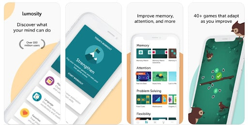 Infographic on the Lumosity App with screenshots