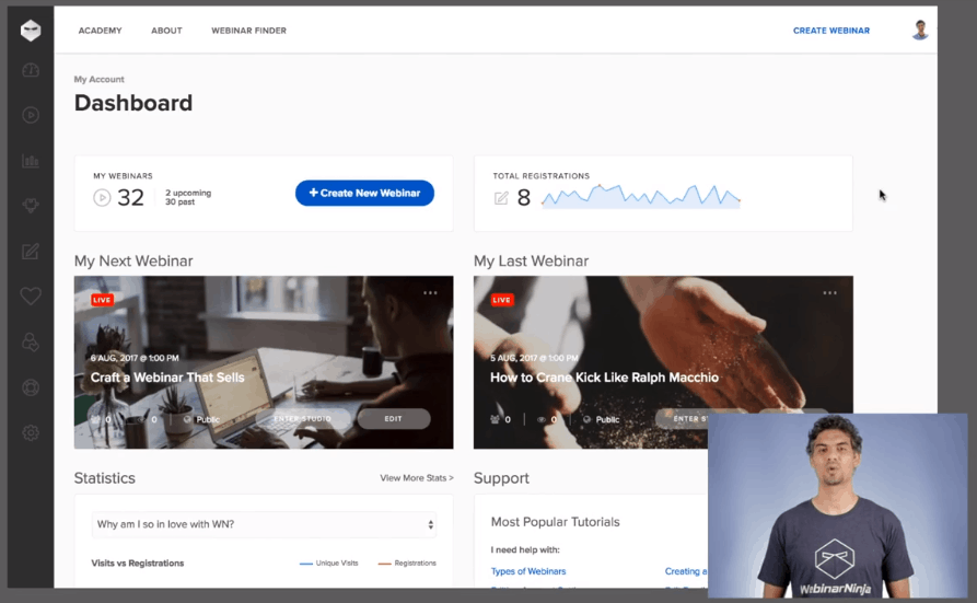 WebinarNinja Dashboard with your next and last Webinars