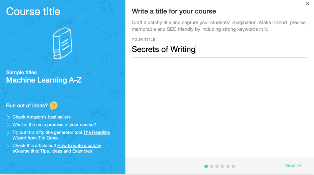 Course creation page on LearnWorlds