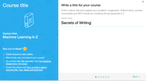 Course creatin page on LearnWorlds