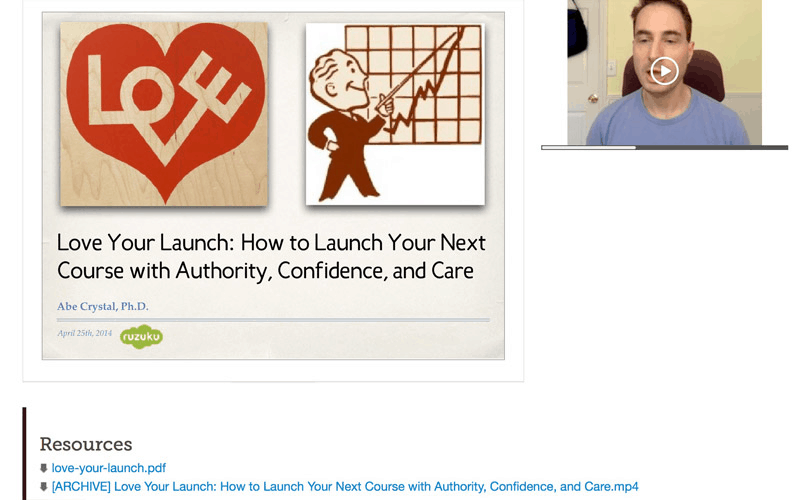 The webinar for loving your launch with resources listed at the bottom
