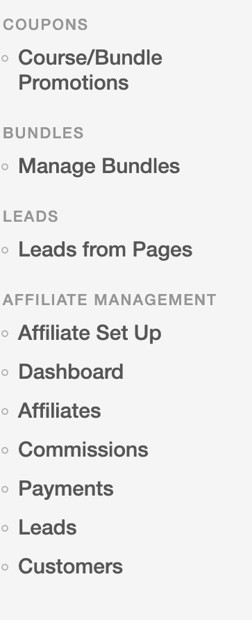 The image enlists the course bundles, leads and affiliate management