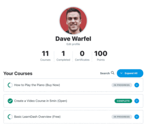 The user profile for Dave Warfel on LearnDash