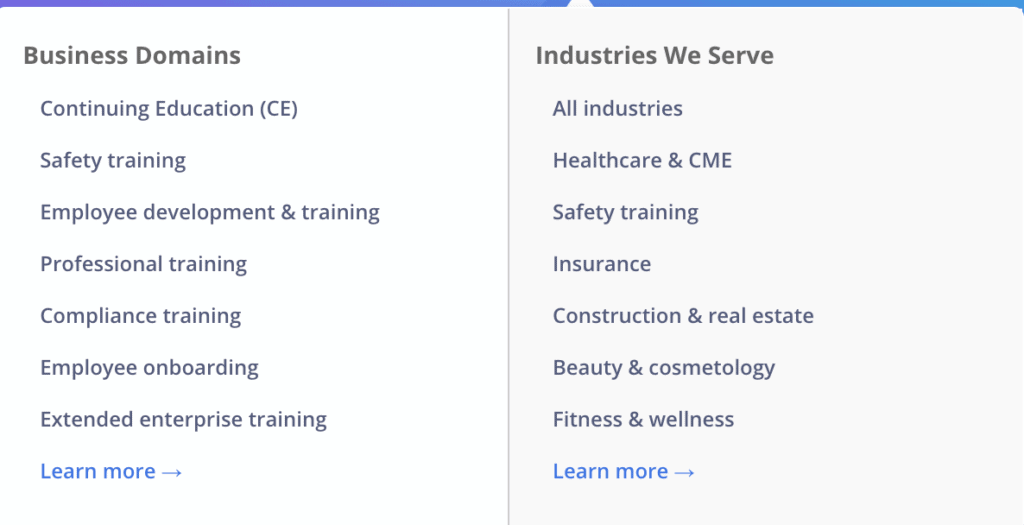 A list of the industries that make use of the platform