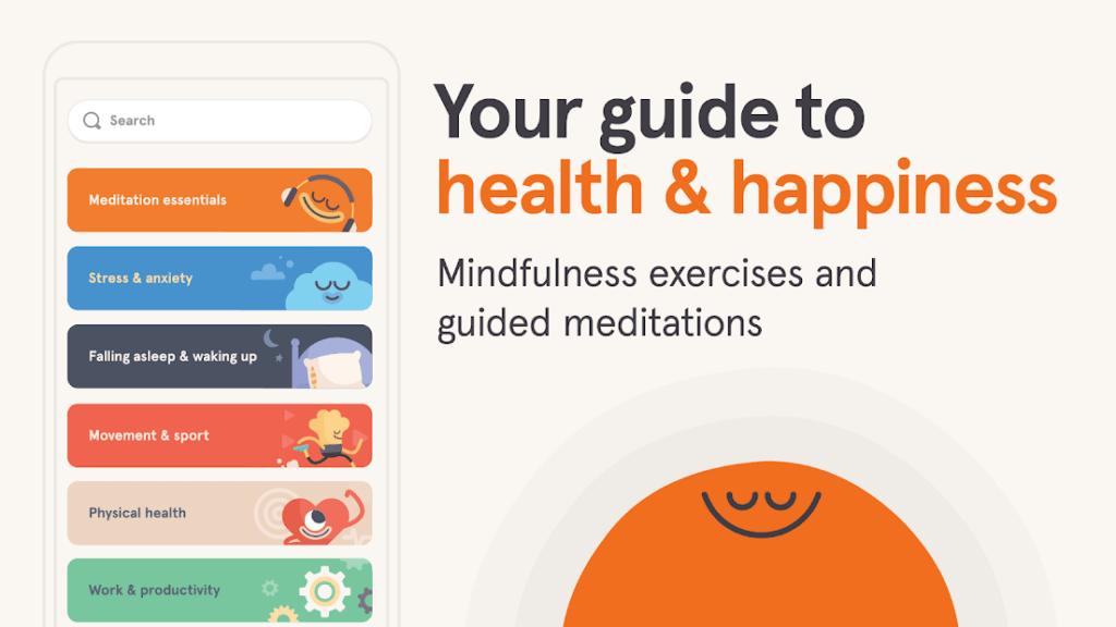 Headspace application for practicing mindfulness and self care