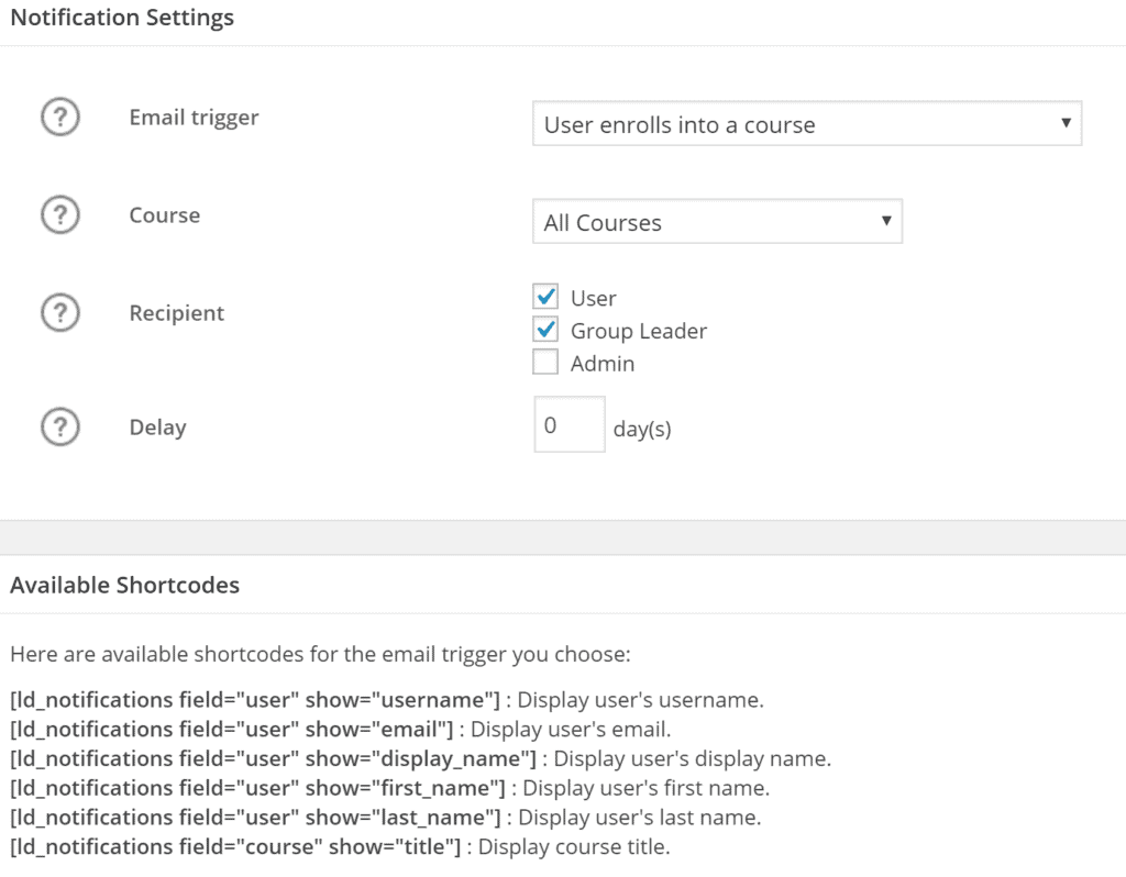 The notification settings for course creators on LearnDash