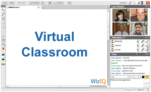 The virtual classroom interface incluing the livestream, the attendees and the chat