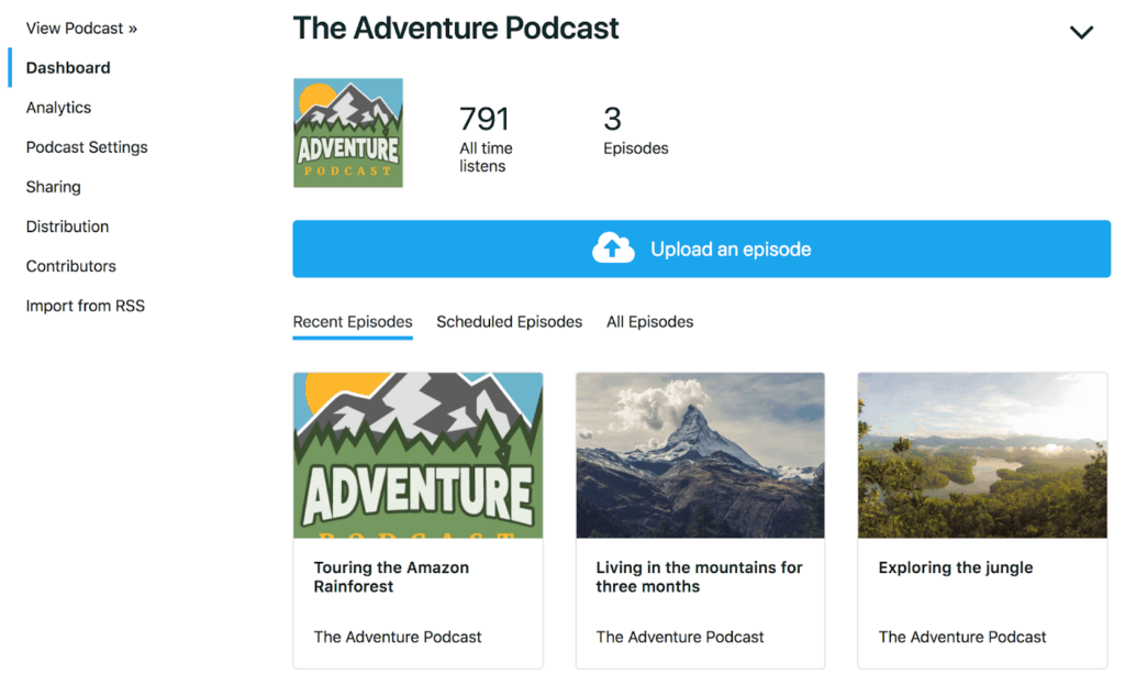 The Adventure Podcast page