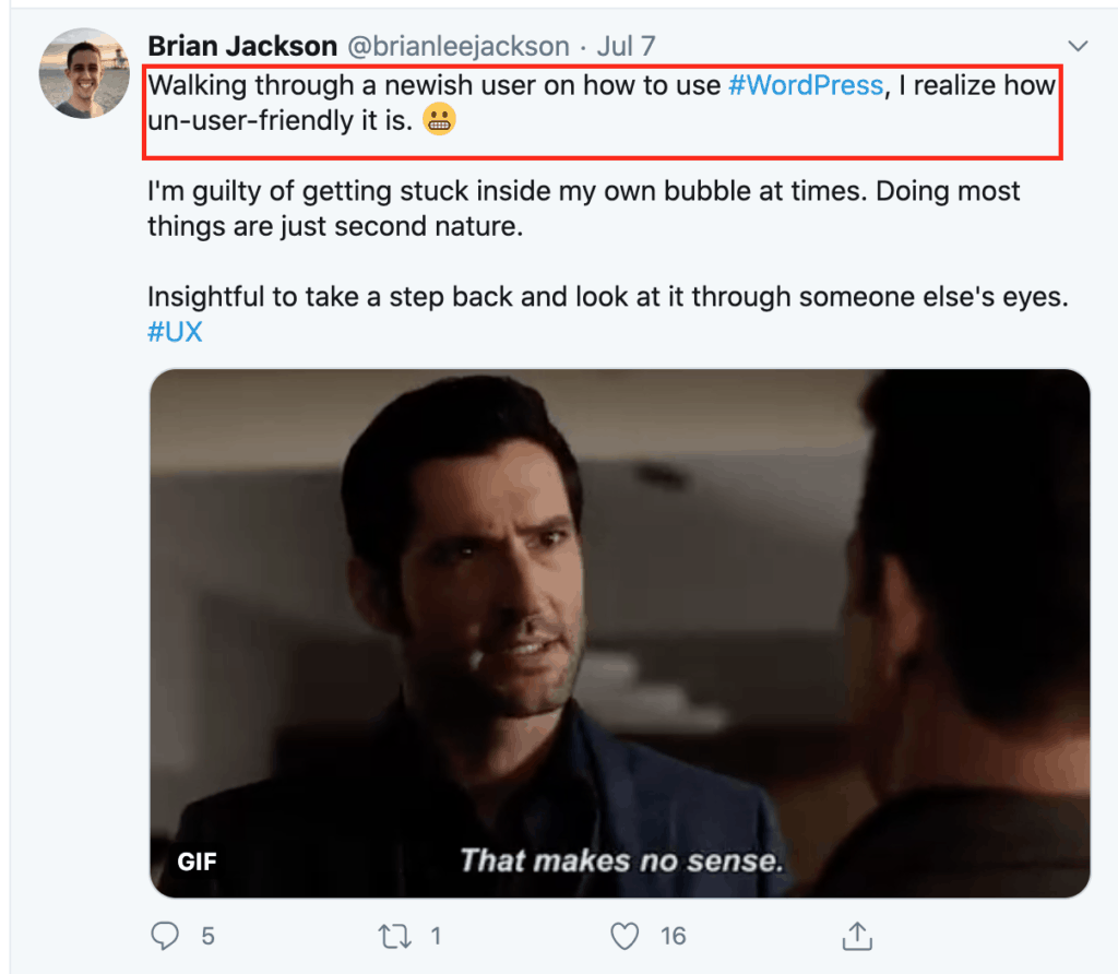A screnshot of Brian JAckson's tweet featuring Tom Ellis as Lucifer