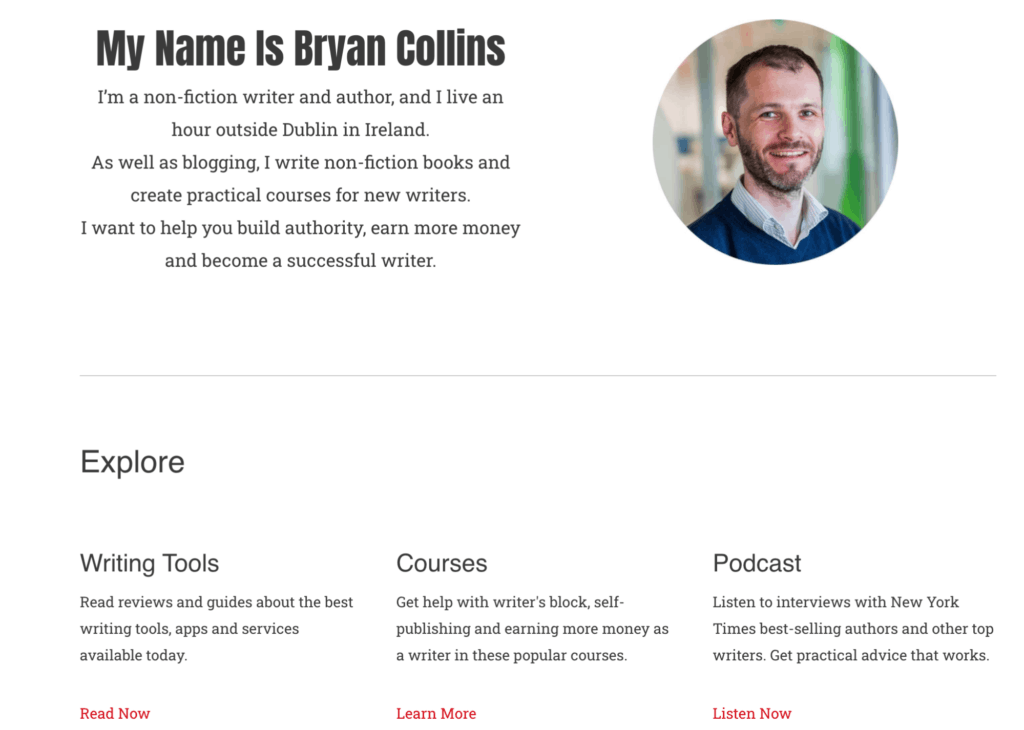 The picture has text about Bryan Collins as well as an explore section with several columns, there is also a picture of Bryan on the right hand side corner