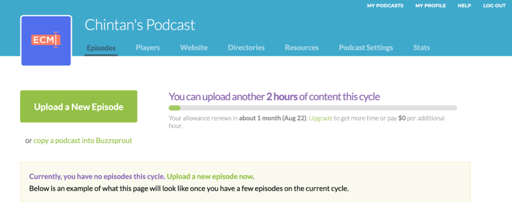 Buzzsprout dashboard and episode upload limit