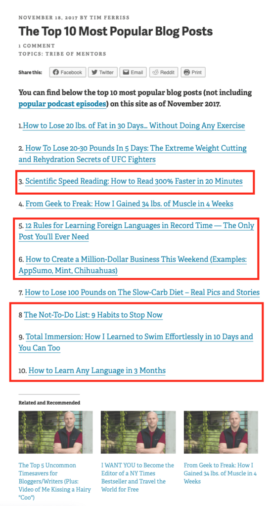 the top ten most popular blog posts