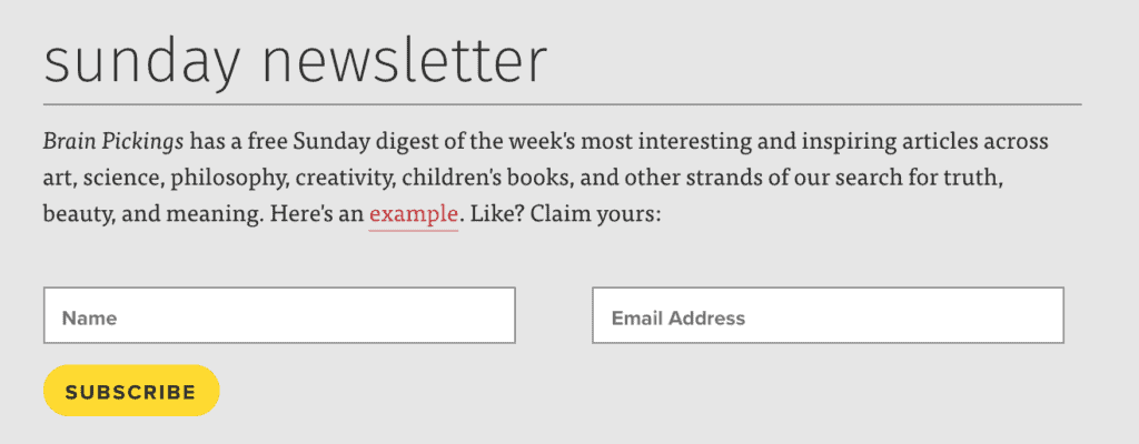 Sunday newsletter with a big yellow subscribe button