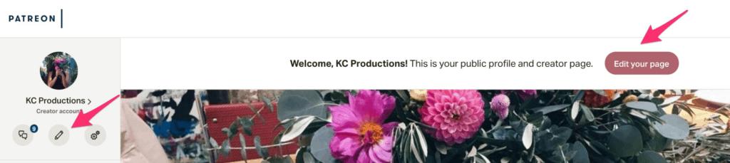 Patreon dashboard and editing profile