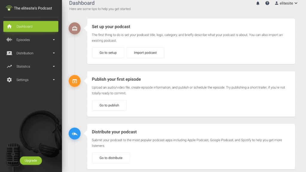 The Dashboard for the creator on PodBean