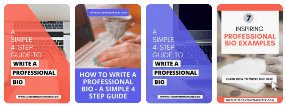Design templates for Pinterest with pictures of a Typewriter and text stating 7 professional bio examples