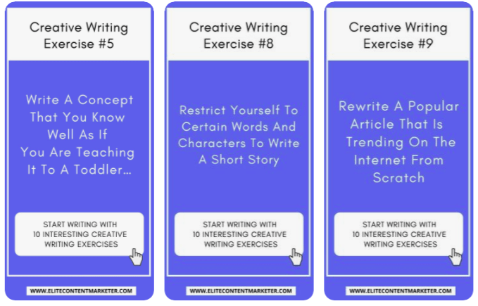 A listicle style pin with several creative writing exercises