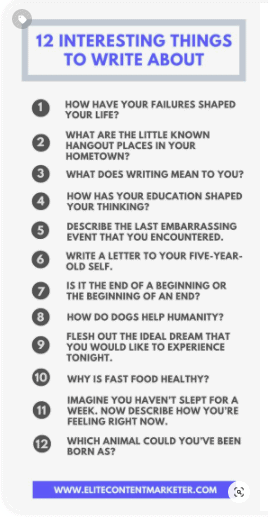 A pin about 12 things to write about