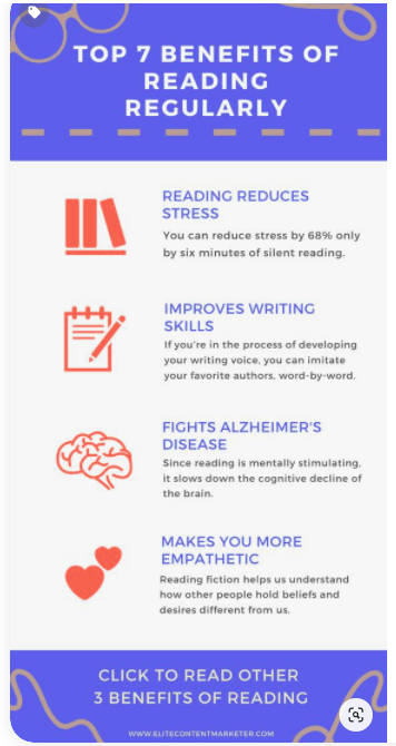 A pin depicting the 7 benefits of reading regularly