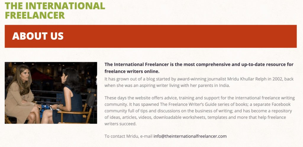 A screenshot depicting the about us page for international freelancer with a picture of two women