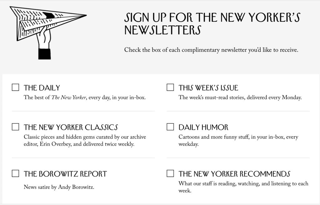 Sign up for the NewYorker's newsletter