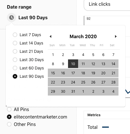 A calendar from where you can choose how far ack you wanna look