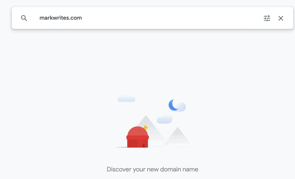 A screenshot of google domains with markwrites.com written in the search bar