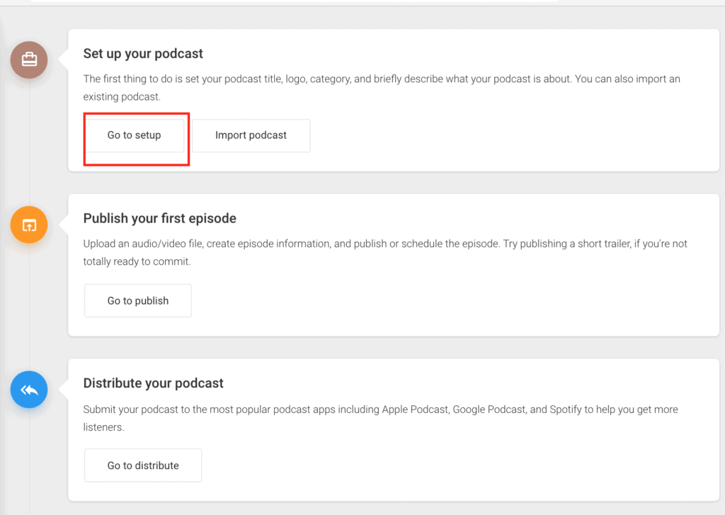 Setting up your podcast and other options