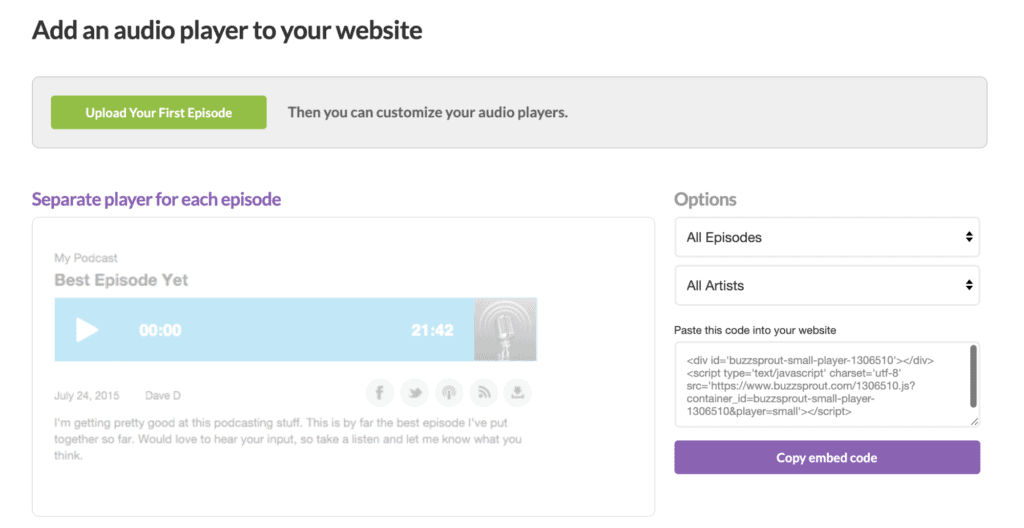Add an audio Player to your website page