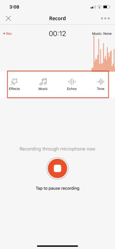 The recording a Podcast page on the mobile app