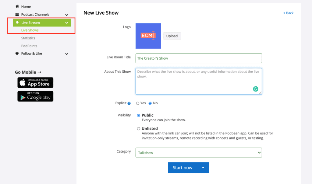 The page for the setting up of a new live show