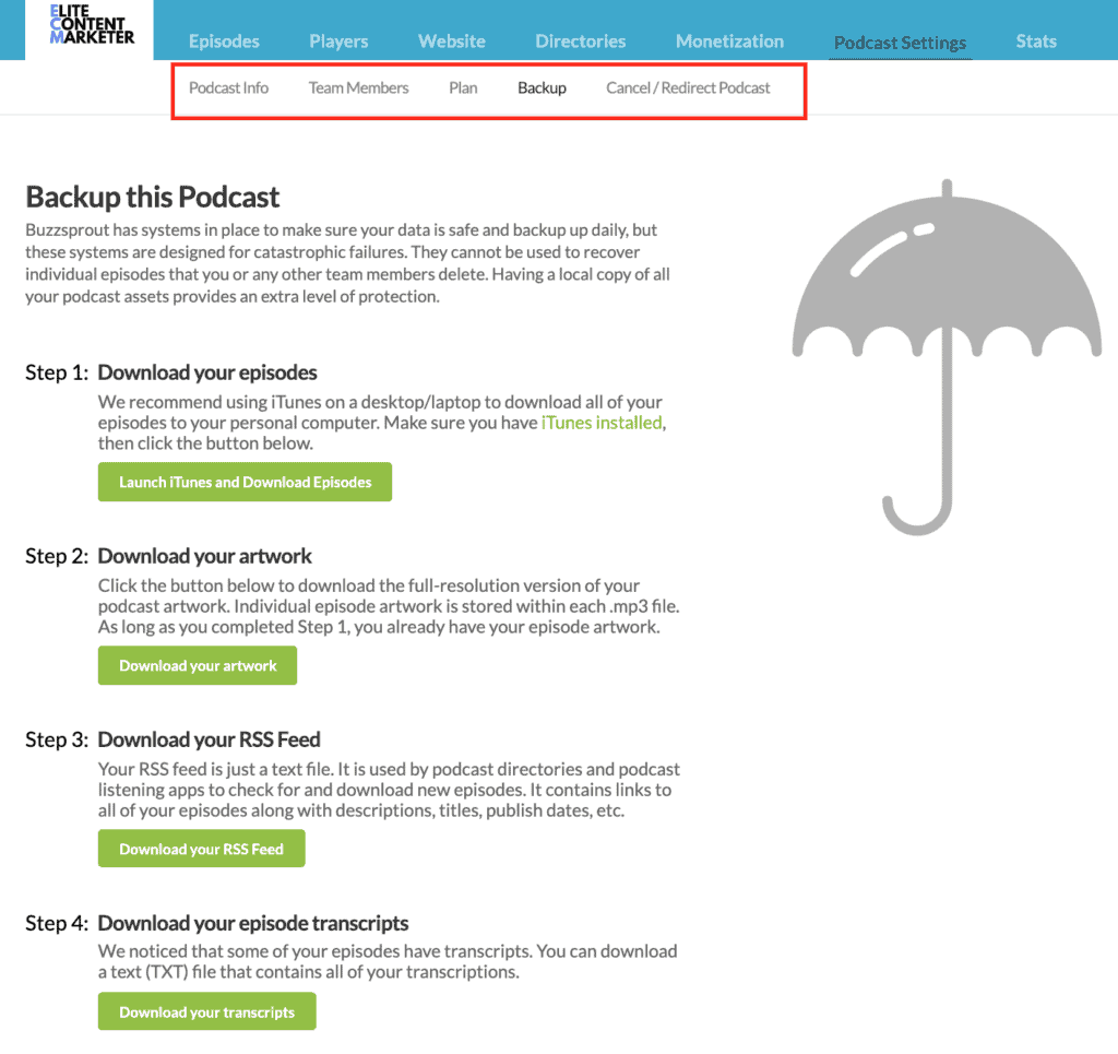 The page where you can backup your podcast