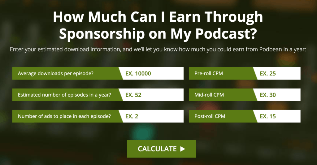 How much can I earn through sponsorship on my podcast