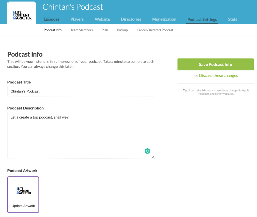 The Podcast Information and description page